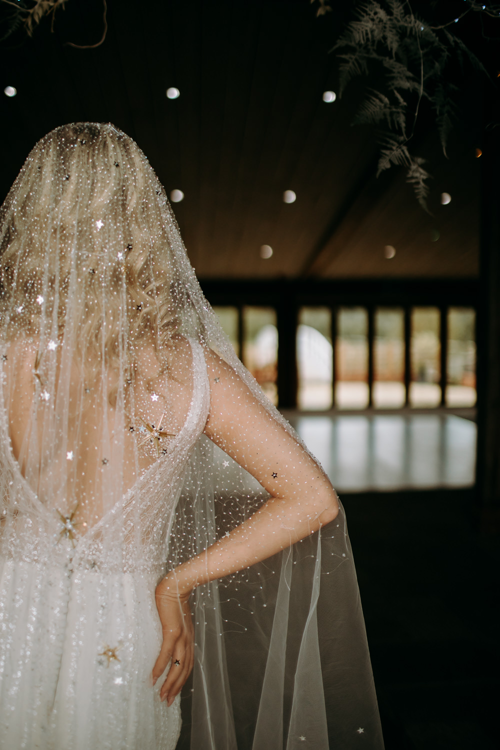 Dress Gown Bride Bridal Starry Veil Embroidered Gold Stars Sequins Celestial Wedding Ideas Christine Thirdwheeling