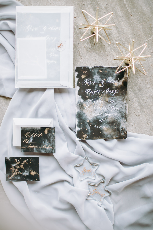 Stationery Invite Invitation Watercolour Black Gold Stars Starry Flat Lay Celestial Wedding Ideas Christine Thirdwheeling