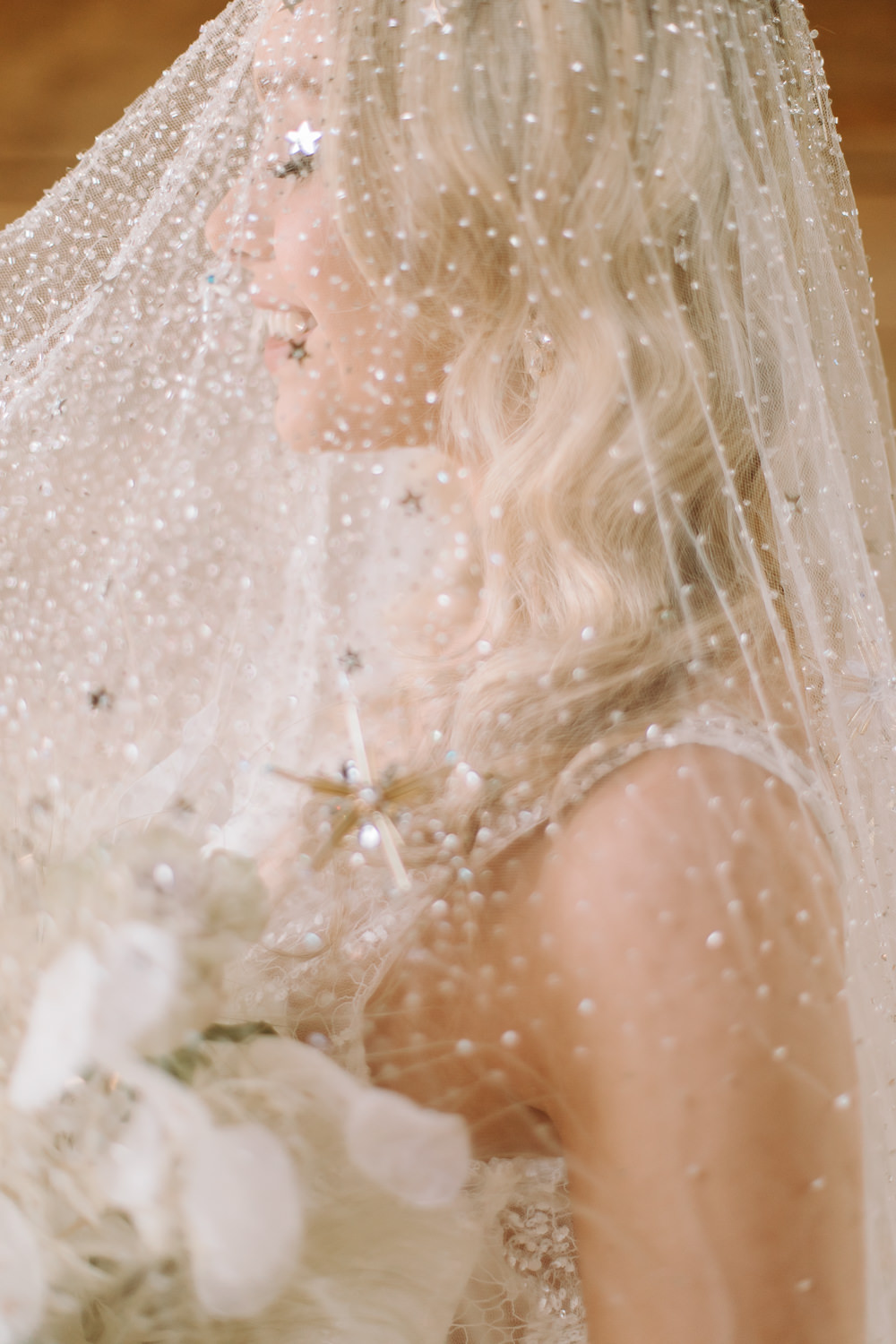 Bride Bridal Starry Veil Embroidered Gold Stars Sequins Celestial Wedding Ideas Christine Thirdwheeling