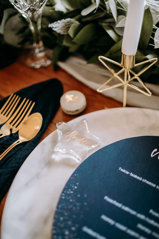 Glass Clear Place Name Calligraphy Stars Celestial Wedding Ideas Christine Thirdwheeling