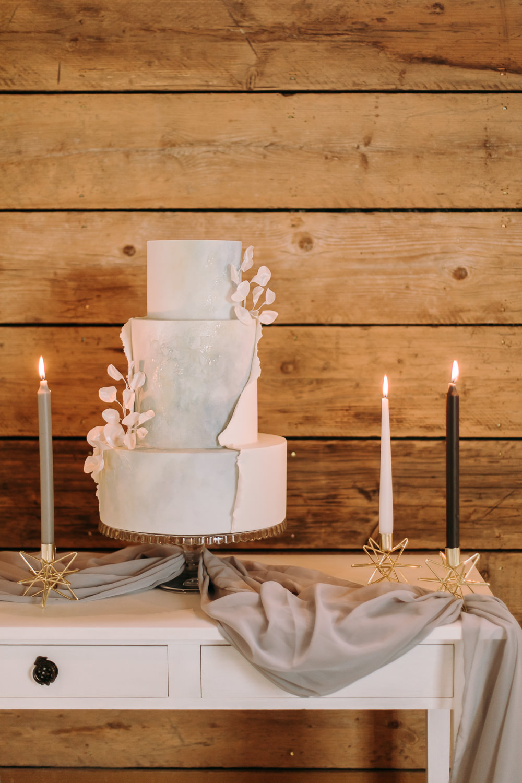 Iced Cake Pale Bule Glitter Celestial Wedding Ideas Christine Thirdwheeling