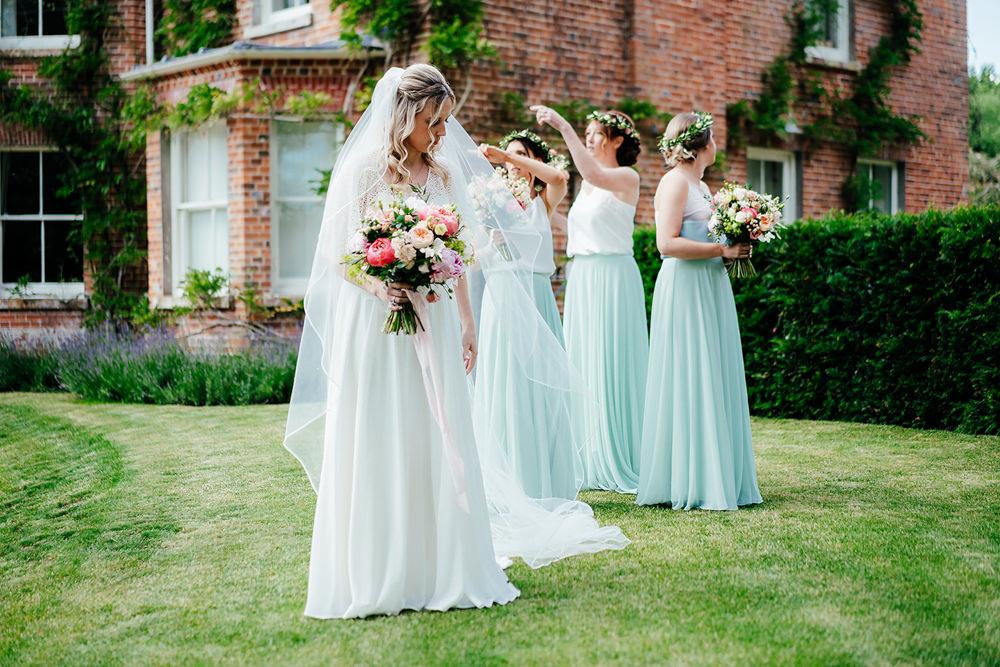 Dress Gown Bride Bridal Charlie Brear Satin Lace Overlay Beaded Belt Sleeves Veil Clock Barn Wedding Angela Ward Brown