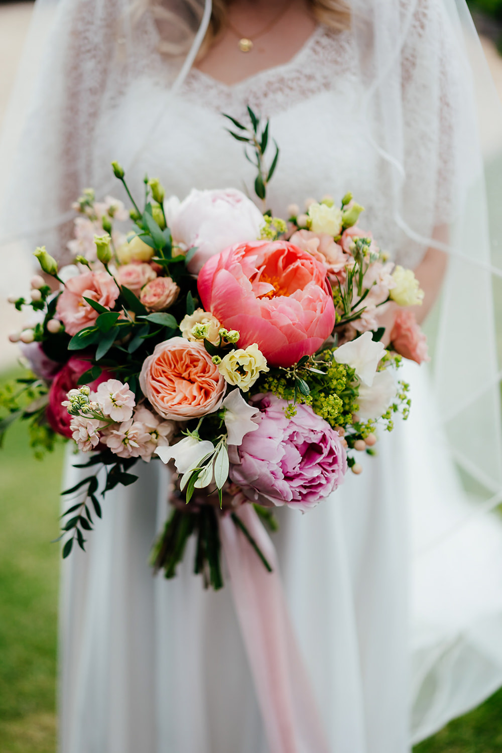 Bouquet Flowers Bride Bridal Peony Peonies Coral Charm Rose Ribbon Clock Barn Wedding Angela Ward Brown