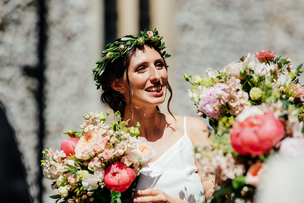 Bridesmaid Flower Crown Clock Barn Wedding Angela Ward Brown
