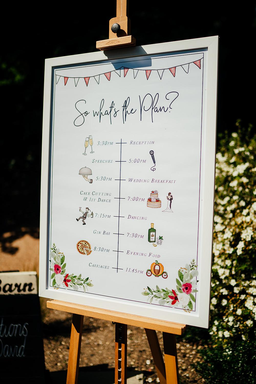 Timings Order Day Sign Signs Signage Clock Barn Wedding Angela Ward Brown