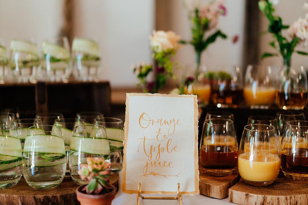 Drinks Bar Station Table Clock Barn Wedding Angela Ward Brown