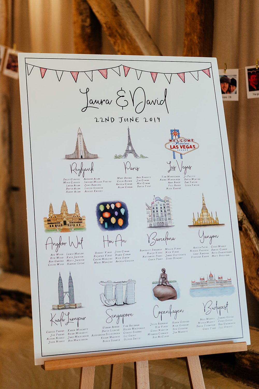 Table Plan Seating Chart Illustrated Bunting Clock Barn Wedding Angela Ward Brown