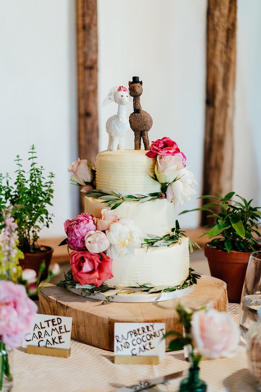 Buttercream Cake Flowers Greenery Log Stand Llama Topper Clock Barn Wedding Angela Ward Brown