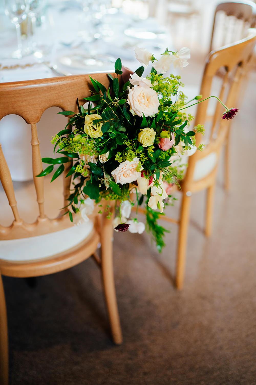 Chair Flowers Rose Greenery Clock Barn Wedding Angela Ward Brown