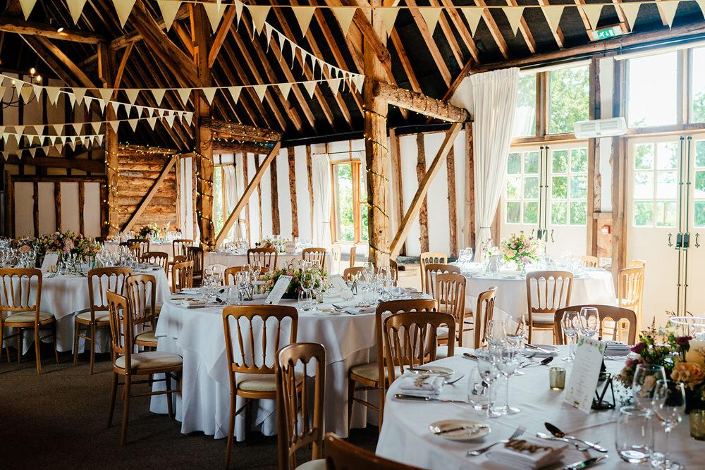 Round Tables Bunting Clock Barn Wedding Angela Ward Brown