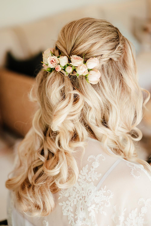 Bride Bridal Hair Style Up Do Half Up Half Down Flowers Clock Barn Wedding Angela Ward Brown