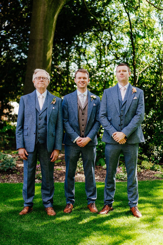 Groom Groomsmen Suits Blue Tweed Waistcoat Floral Tie Clock Barn Wedding Angela Ward Brown