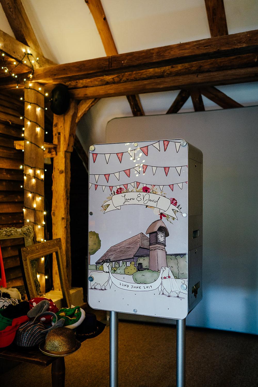 Photo Booth Backdrop Illustrated Venue Clock Barn Wedding Angela Ward Brown