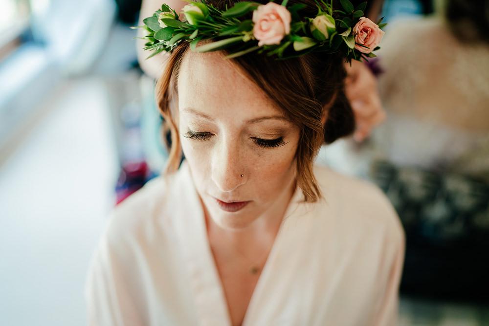 Bridesmaid Flower Crown Hair Clock Barn Wedding Angela Ward Brown