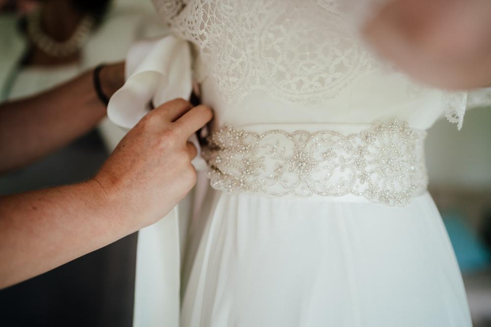 Dress Gown Bride Bridal Charlie Brear Satin Lace Overlay Beaded Belt Clock Barn Wedding Angela Ward Brown