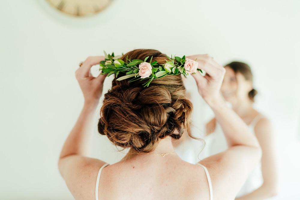 Bridesmaid Flower Crown Hair Style Up Do Clock Barn Wedding Angela Ward Brown