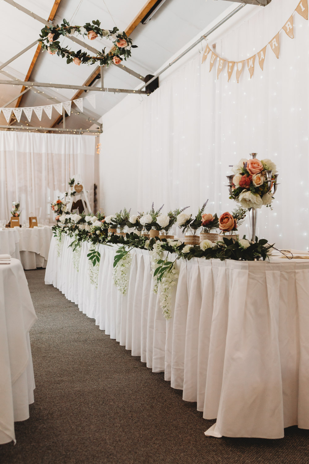 Top Table Flowers Crug Glas Country House Wedding Simon Murray Images