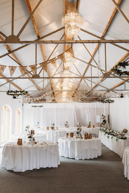 Barn Bunting Hessian Burlap Crug Glas Country House Wedding Simon Murray Images