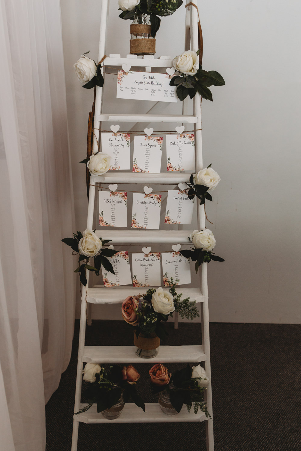 Table Plan Seating Chart Wooden Ladder Crug Glas Country House Wedding Simon Murray Images