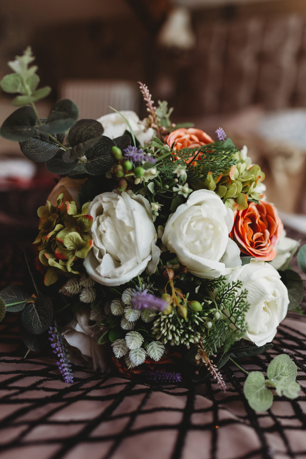 Bouquet Flowers Bride Bridal Rose Coral Ivory Crug Glas Country House Wedding Simon Murray Images