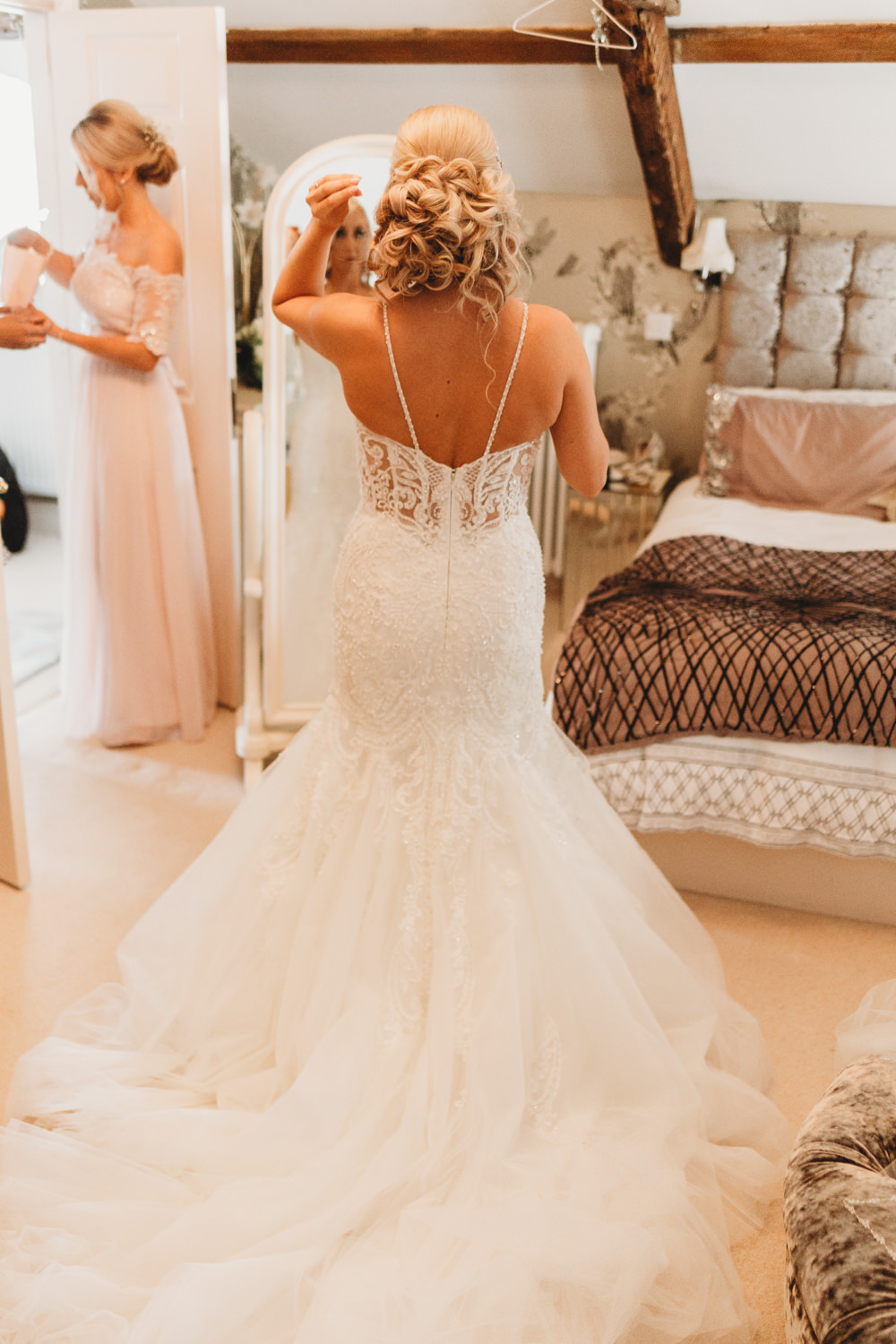 Dress Gown Bride Bridal Kenneth Winston Fishtail Fit Flare Straps Crug Glas Country House Wedding Simon Murray Images