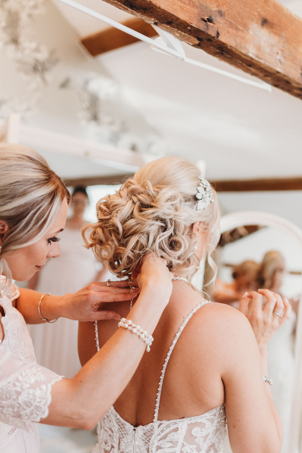 Bride Bridal Hair Style Up Do Crug Glas Country House Wedding Simon Murray Images