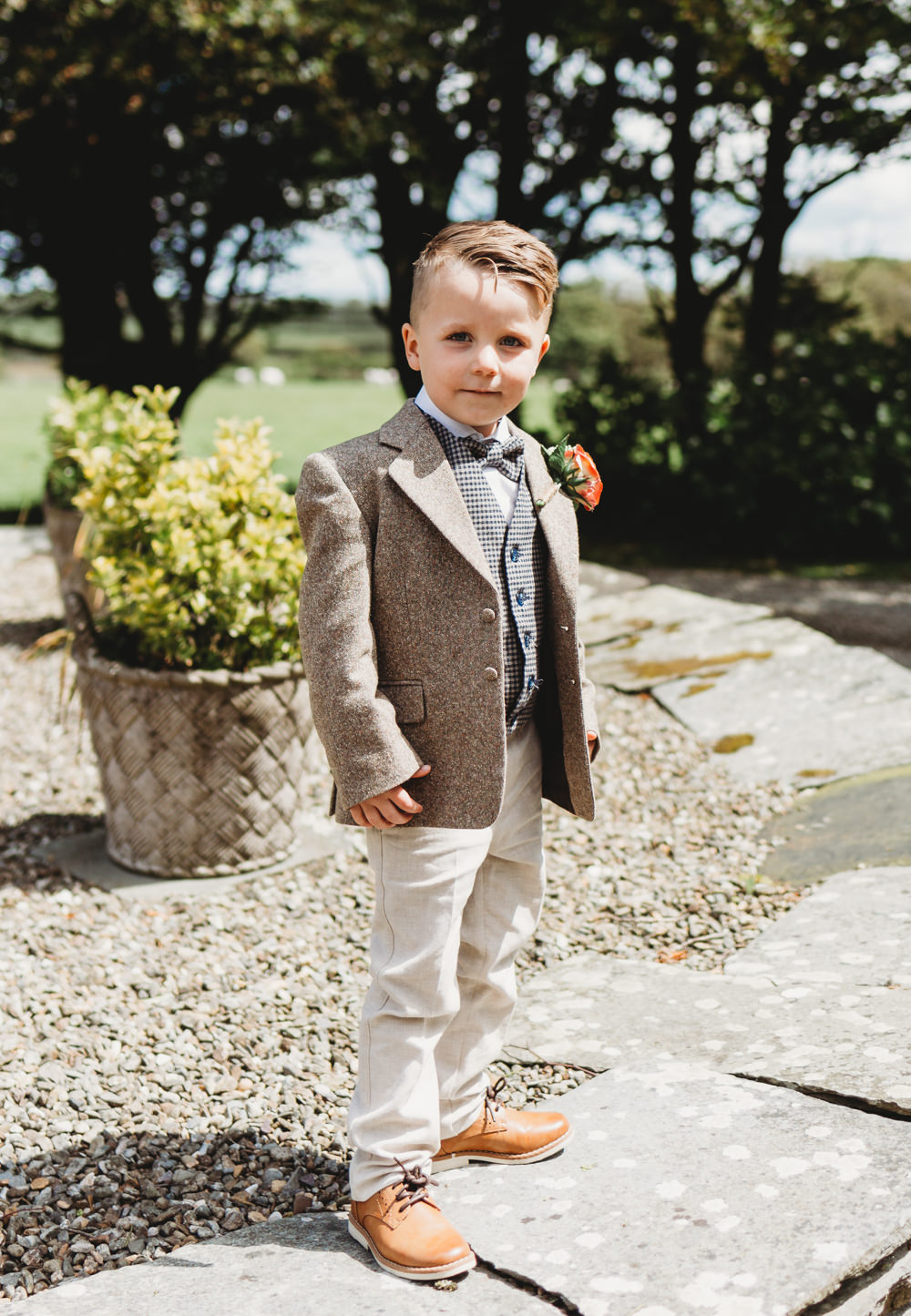 Page Boy Suit Bow Tie Crug Glas Country House Wedding Simon Murray Images