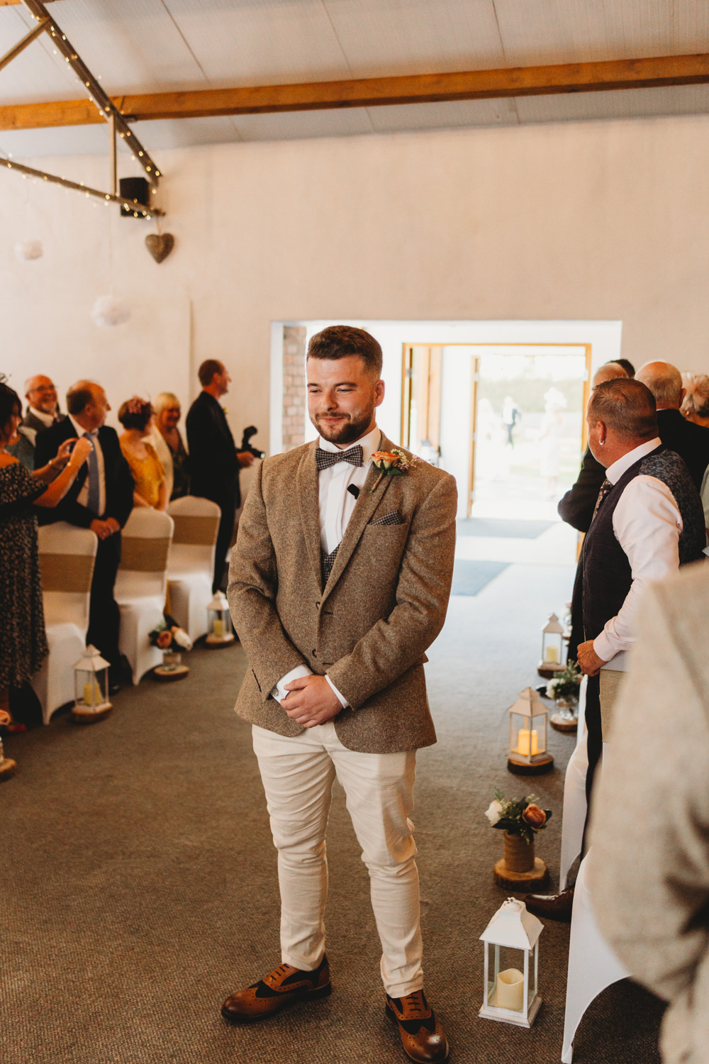 Groom Suit Tweed Bow Tie Crug Glas Country House Wedding Simon Murray Images