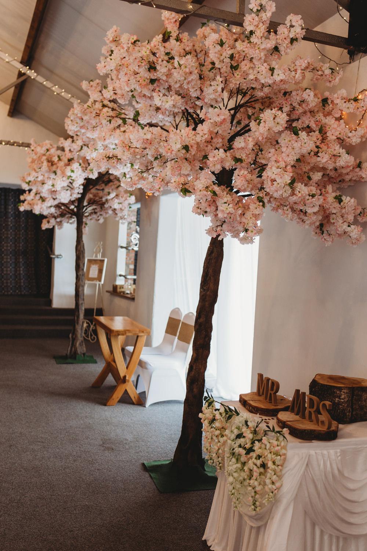 Cherry Blossom Trees Ceremony Aisle Crug Glas Country House Wedding Simon Murray Images