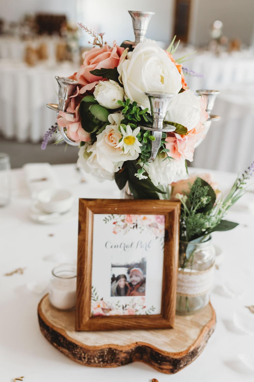 Table Centrepiece Decor Flowers Log Slice Frame Table Name Crug Glas Country House Wedding Simon Murray Images