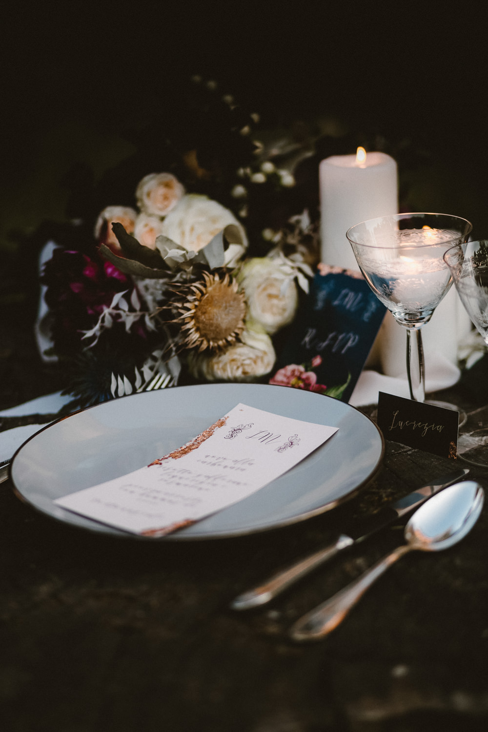 Place Setting Table DEcor Menu Flowers Candles Ethereal Candlelit Wedding Ideas Ortica Wedding