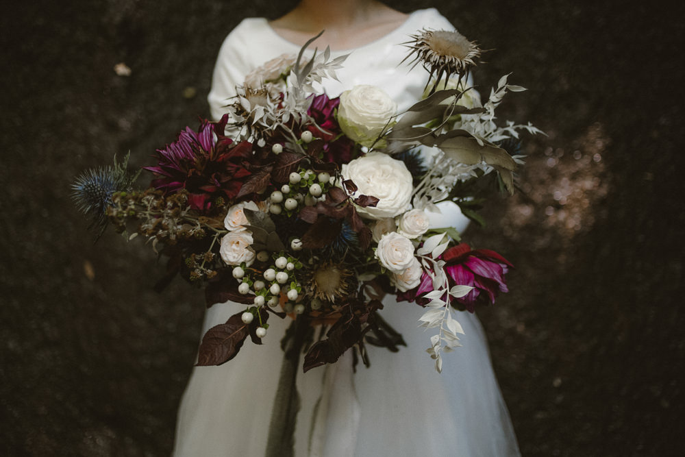 Bouquet Flowers Bride Bridal Rose Dahlia Thistle Ribbon Ethereal Candlelit Wedding Ideas Ortica Wedding