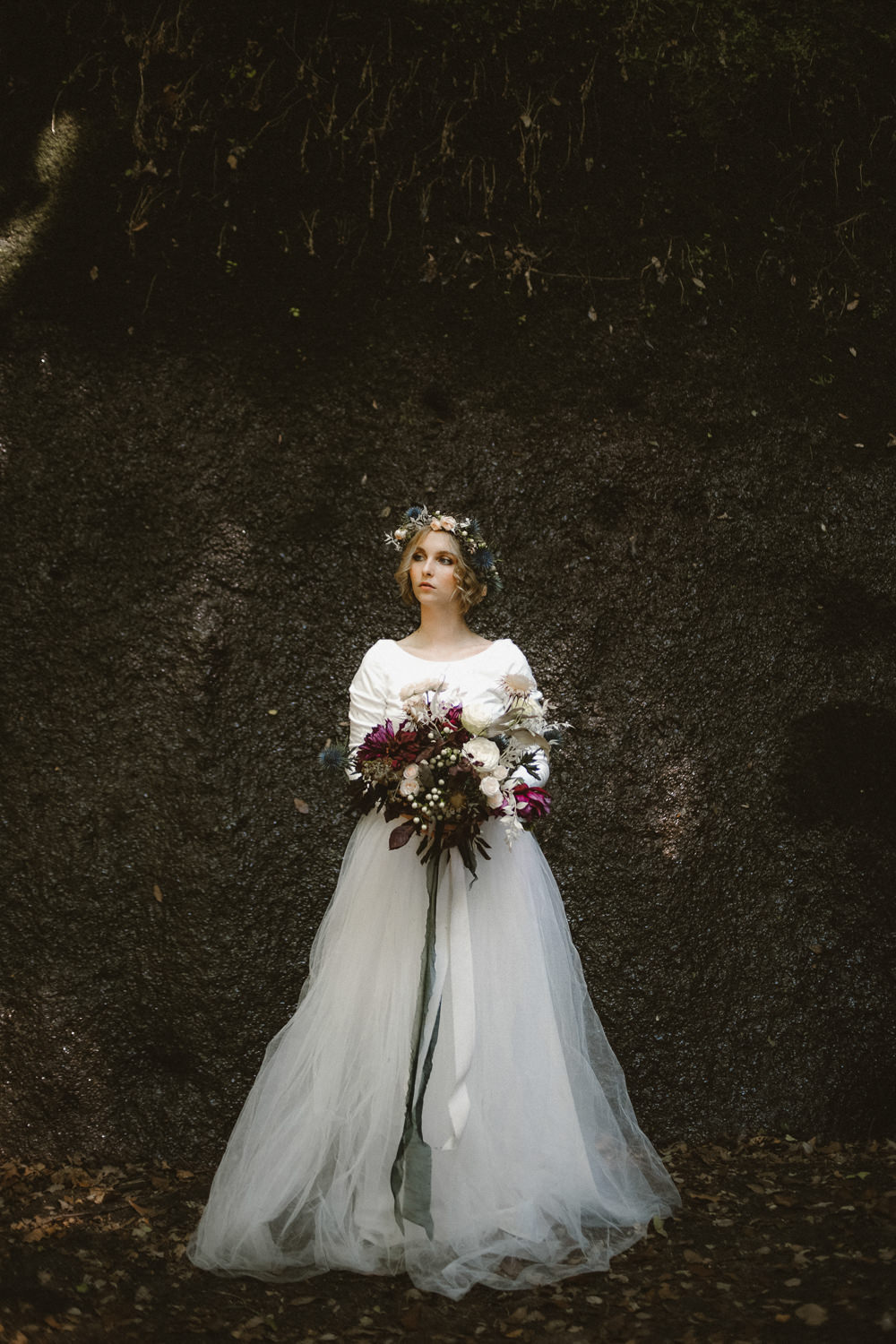 Dress Gown Bride Bridal Long Sleeves Tulle Skirt Ethereal Candlelit Wedding Ideas Ortica Wedding