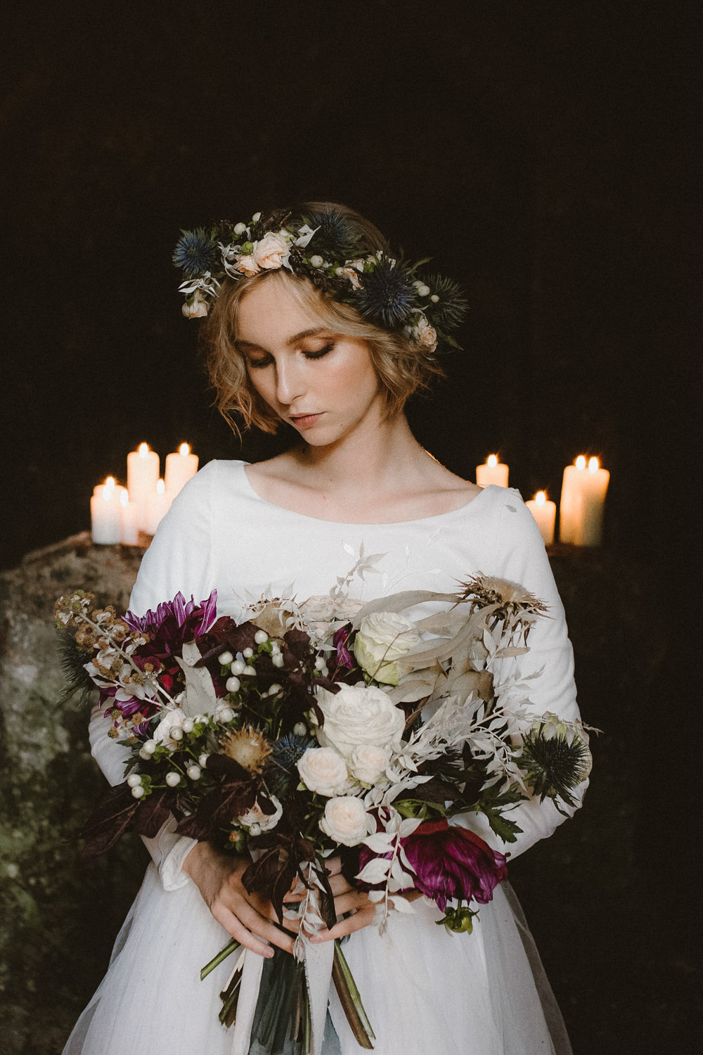 Bouquet Flowers Bride Bridal Rose Dahlia Thistle Ribbon Flower CrownEthereal Candlelit Wedding Ideas Ortica Wedding