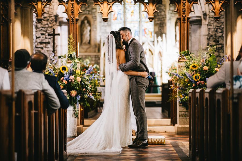 Flower Arrangement Flowers Milk Churn Colourful Sunflowers Aisle Church Ceremony Farm Wedding Alex Tenters Photography