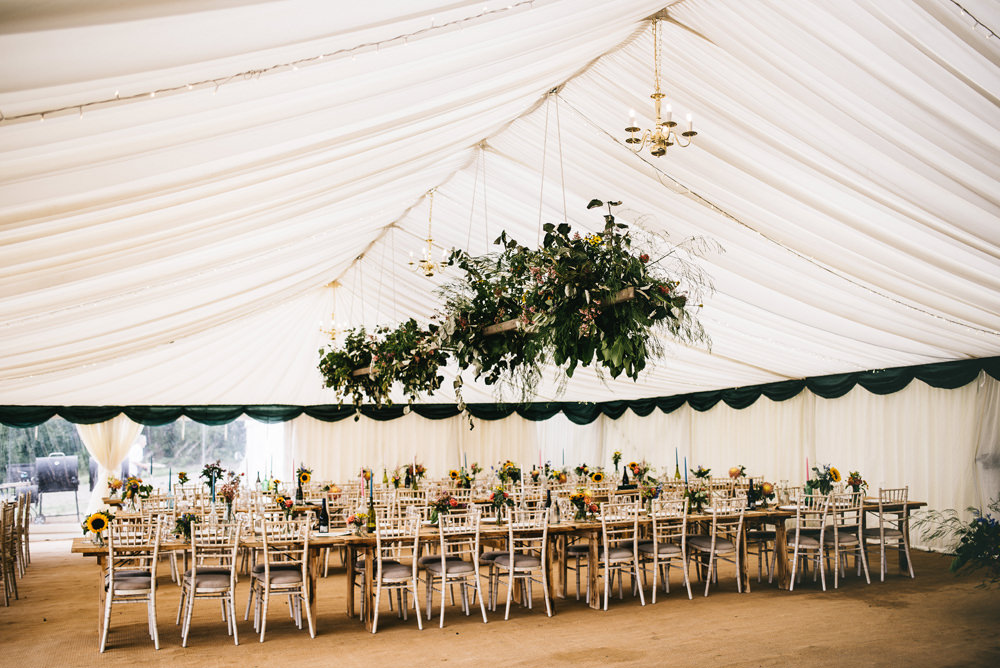 Hanging Flowers Suspended Marquee Greenery Foliage Farm Wedding Alex Tenters Photography