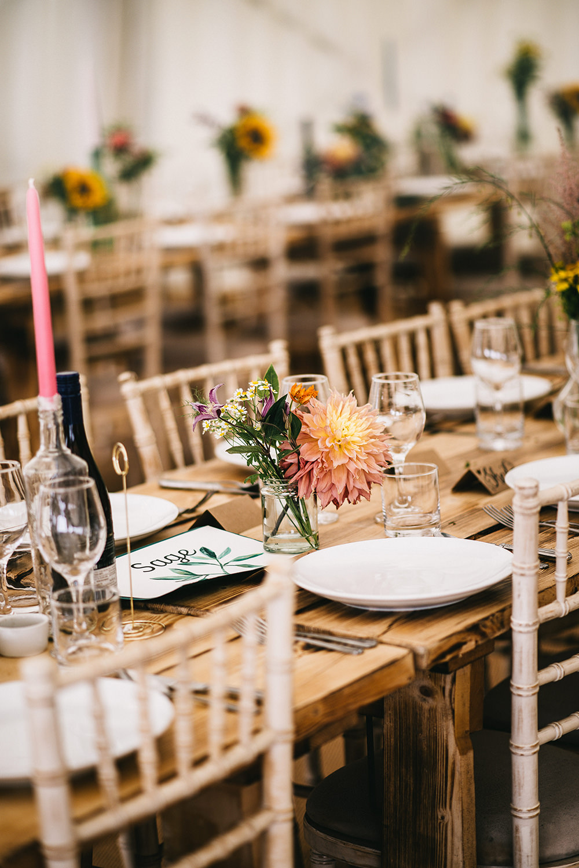 Long Wooden Tables Decor Flowers Jars Farm Wedding Alex Tenters Photography