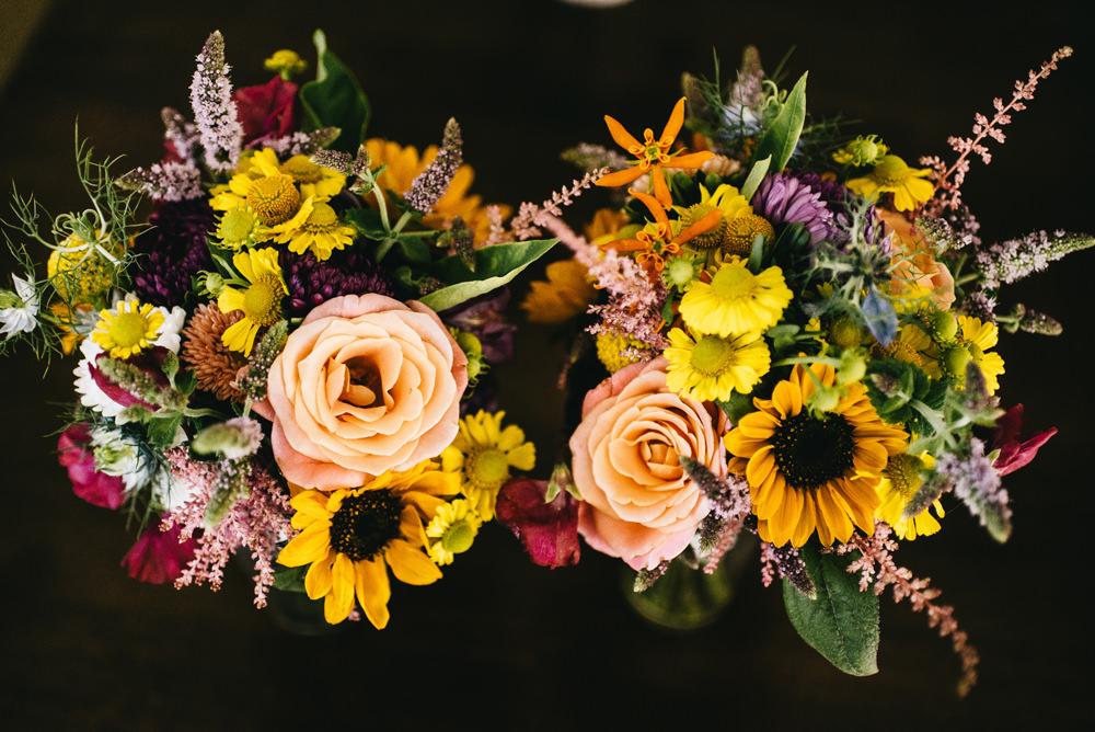 Bride Bridal Bouquet Flowers Sunflowers Rose Farm Wedding Alex Tenters Photography