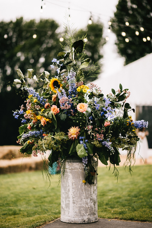 Flower Arrangement Flowers Milk Churn Colourful Sunflowers Farm Wedding Alex Tenters Photography