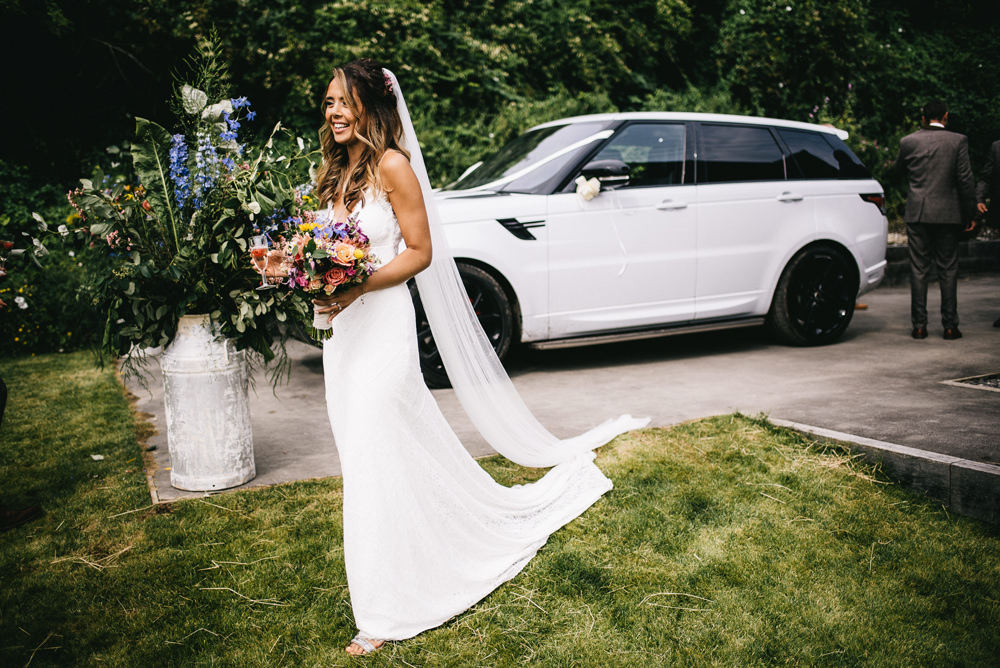 Dress Gown Bride Bridal Sleek Lace Trim Train Straps Veil Farm Wedding Alex Tenters Photography