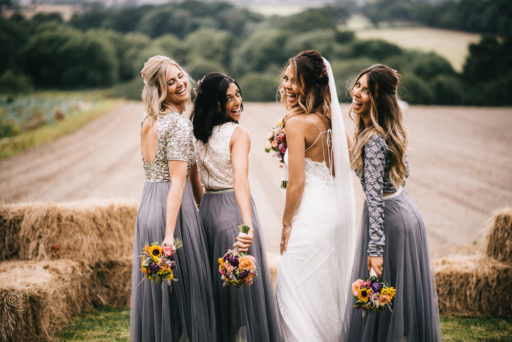 Bridesmaids Bridesmaid Dress Dresses Grey Skirt Glitter Sequin Tops Farm Wedding Alex Tenters Photography