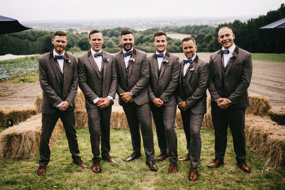 Groom Tweed Suit Bow Tie Groomsmen Farm Wedding Alex Tenters Photography