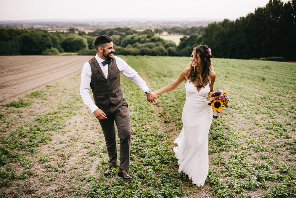 Groom Tweed Suit Bow Tie Waistcoat Farm Wedding Alex Tenters Photography
