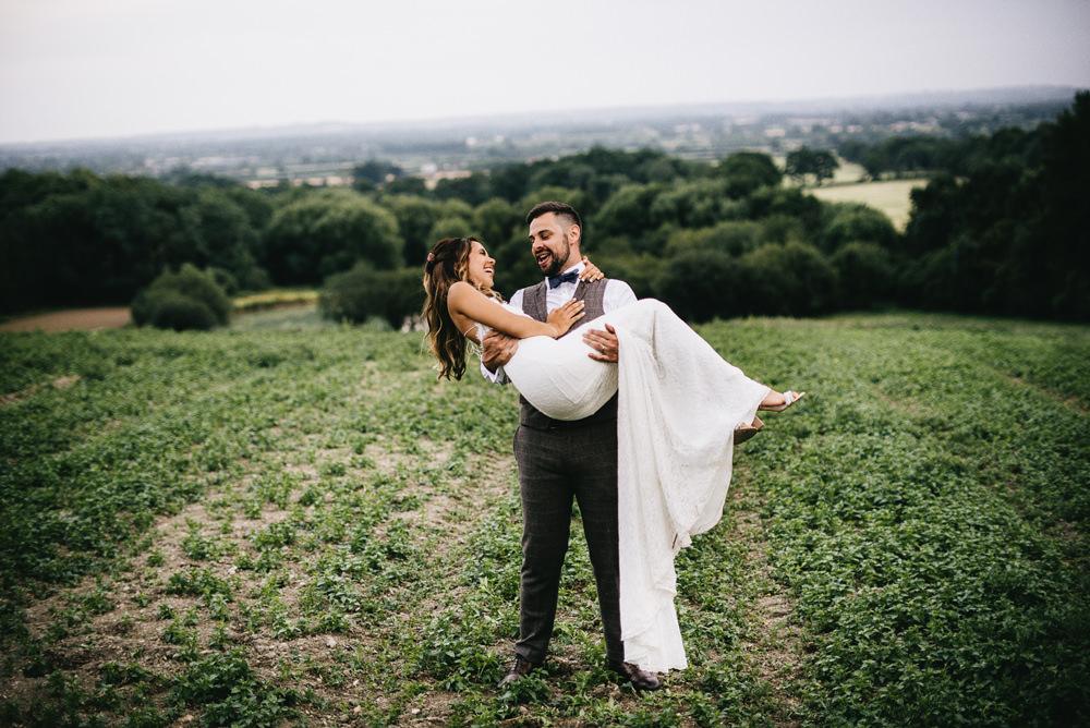 Farm Wedding Alex Tenters Photography Dress Gown Bride Bridal Sleek Lace Trim Train Straps