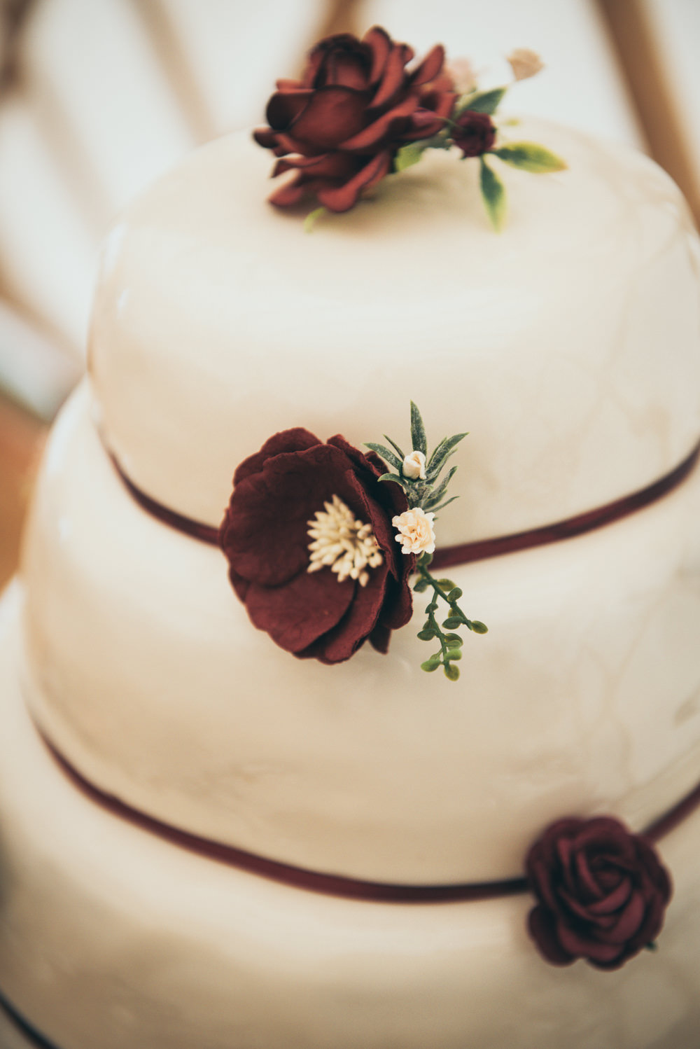 Iced Cake Burgundy Flowers Fron Farm Yurt Retreat Wedding Cat Arwel Photography