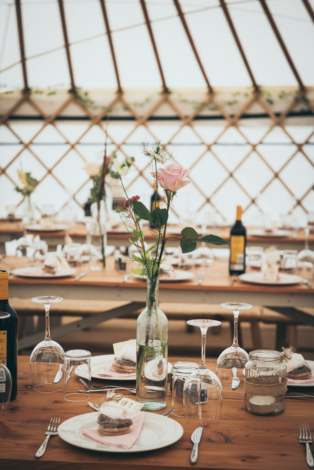 Rustic Wooden Tables Decor Decoration Flowers Bottles Fron Farm Yurt Retreat Wedding Cat Arwel Photography