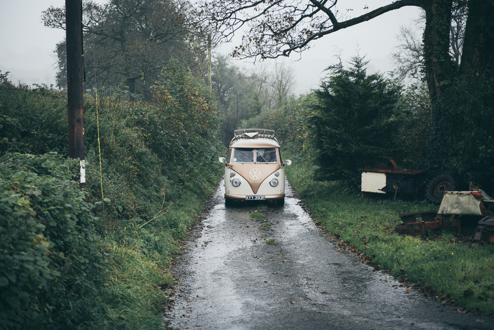 Car Transport Vintage VW Campervan Fron Farm Yurt Retreat Wedding Cat Arwel Photography