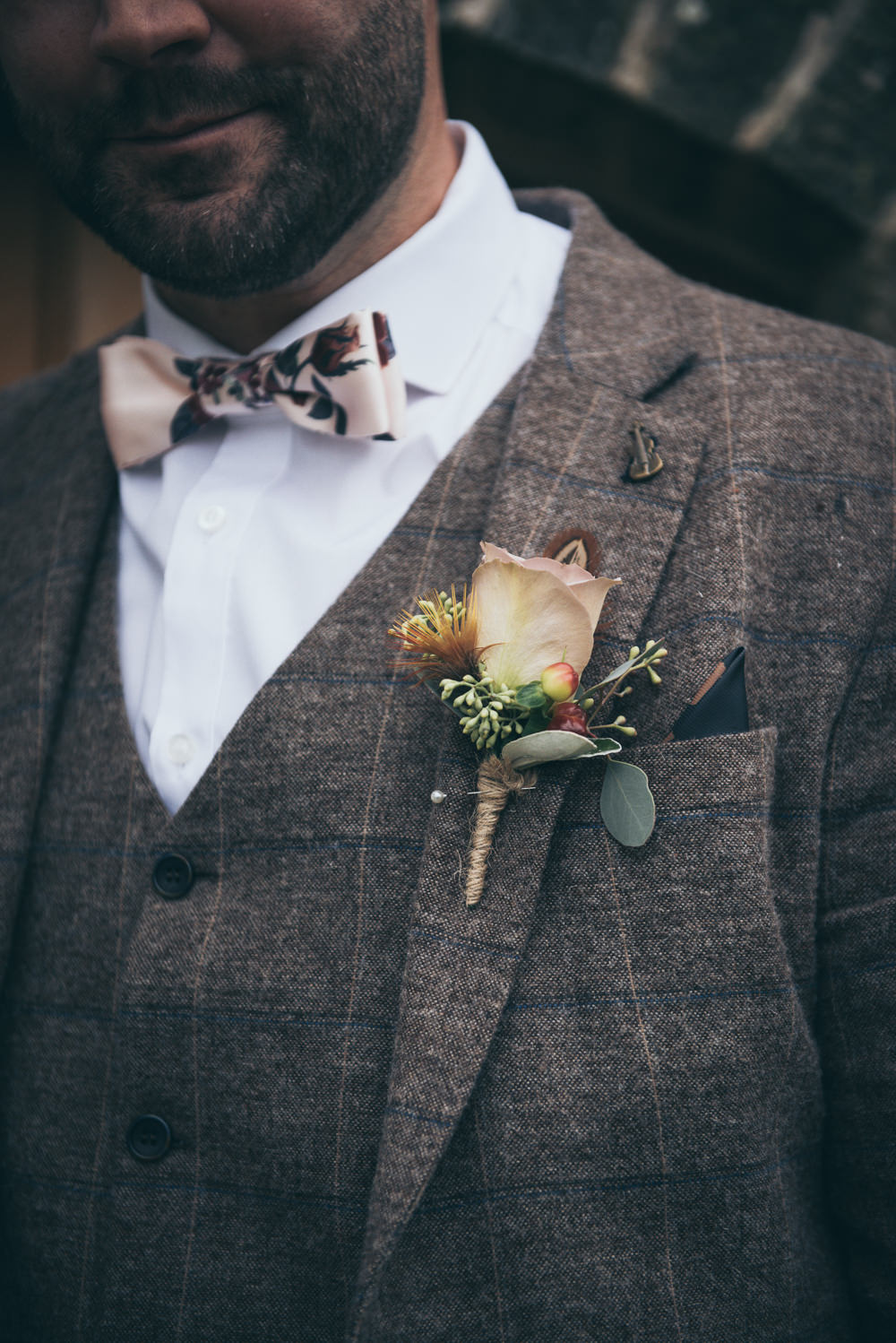 Groom Tweed Suit Brown Check Burgundy Chinos Floral Bow Tie Rose Buttonhole Fron Farm Yurt Retreat Wedding Cat Arwel Photography
