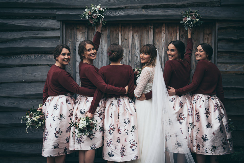 Bridesmaids Bridesmaid Dress Dresses Skirts Tops Jumpers Burgundy Pink Fron Farm Yurt Retreat Wedding Cat Arwel Photography