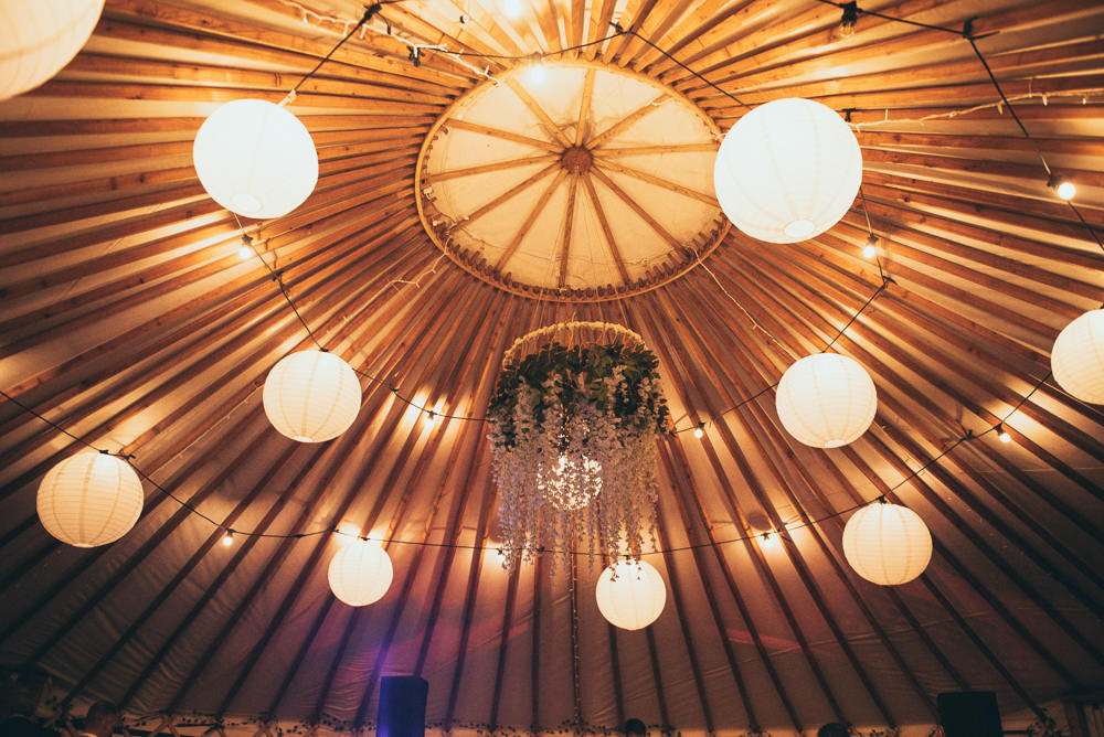 Reception Venue Lanterns Greenery Hoop Fron Farm Yurt Retreat Wedding Cat Arwel Photography